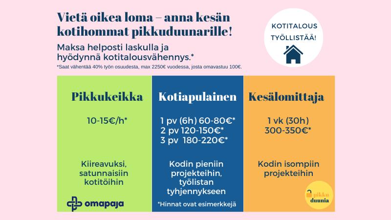 Pikkuduunia-hankkeen kesäduunipaketit kotitalouksille