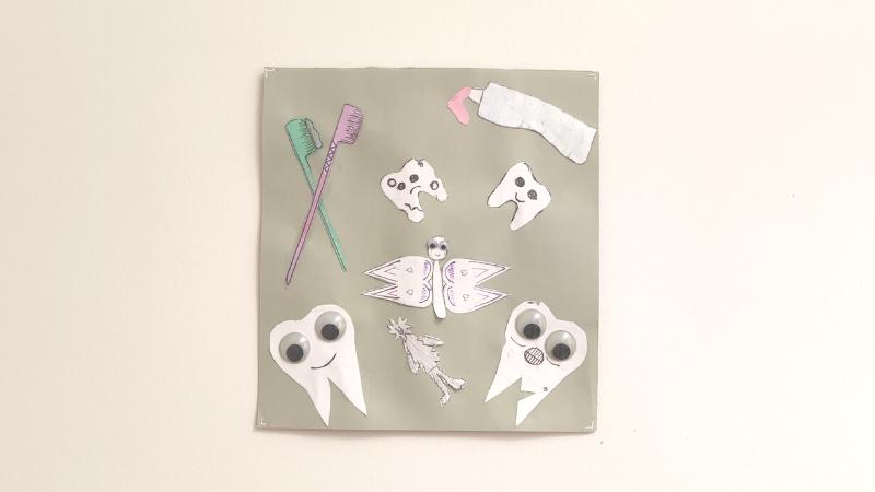 Kuvassa on hampaiden, hammasharjojen, hammastahnan, hammaskeijun ja hammaspeikon kuvat piirrettynä