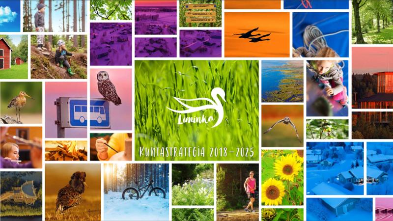 Limingan kuntastrategia on tehty vuosille 2018 – 2025. Kannessa on värikäs kuvakollaasi Limingassa otetuista valokuvista.