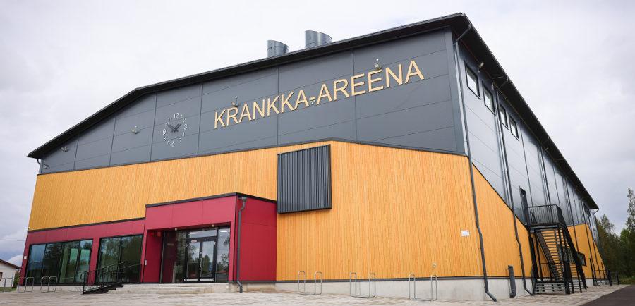 Limingan uuden liikuntahallin, Krankka-areenan julkisivu.