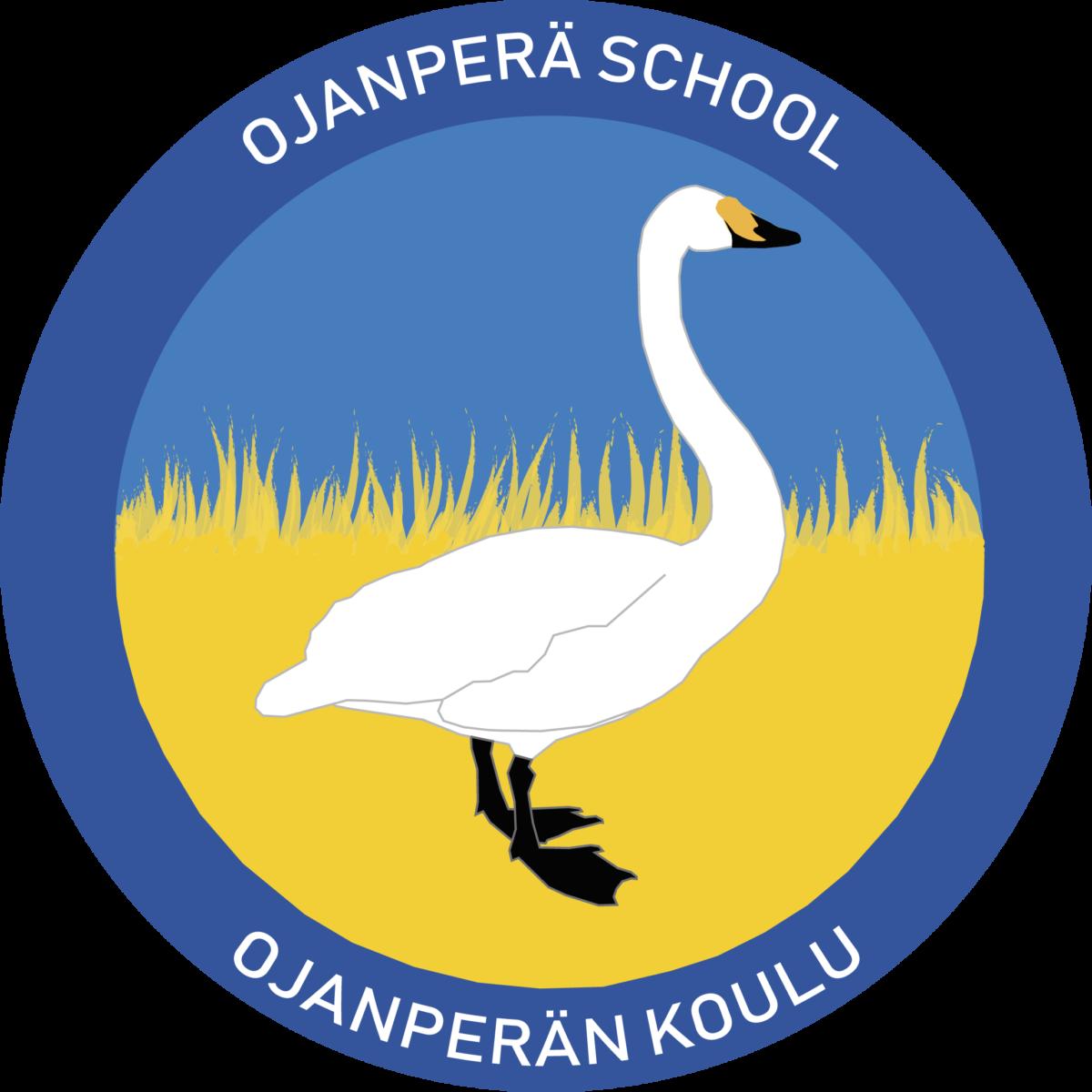 Ojanperän koulun logossa on joutsen