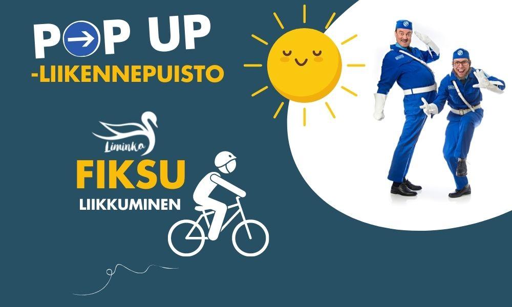Pop up -liikennepuiston julistekuvassa on potretti Maltista ja Valtista, Fiksu liikkuminen II -hankkeen logo sekä iso keltainen aurinko.