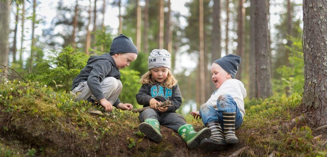 Kolme taaperoa istuu metsämättäällä Rantakylässä.