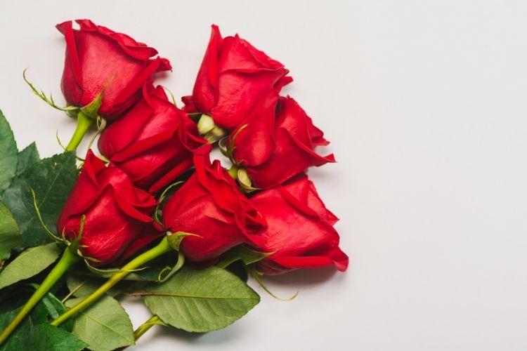 Kimppu punaisia ruusuja pöydällä.